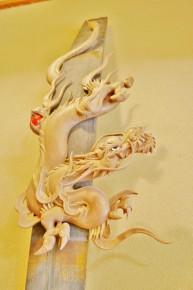 倶利伽羅不動の剣に巻き付く龍をイメージした作品「天剣龍」