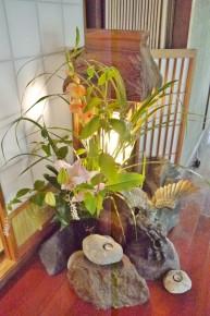 2階に飾られた花