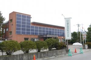 太陽光パネルを外壁に設置した社屋
