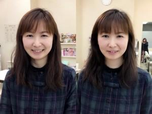 前髪カット前(左)→カット後(右)