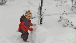 お庭で雪だるまづくり