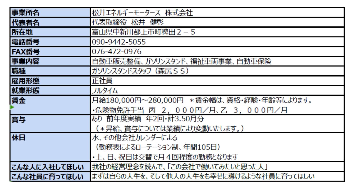 松井エネルギーモータース求人情報