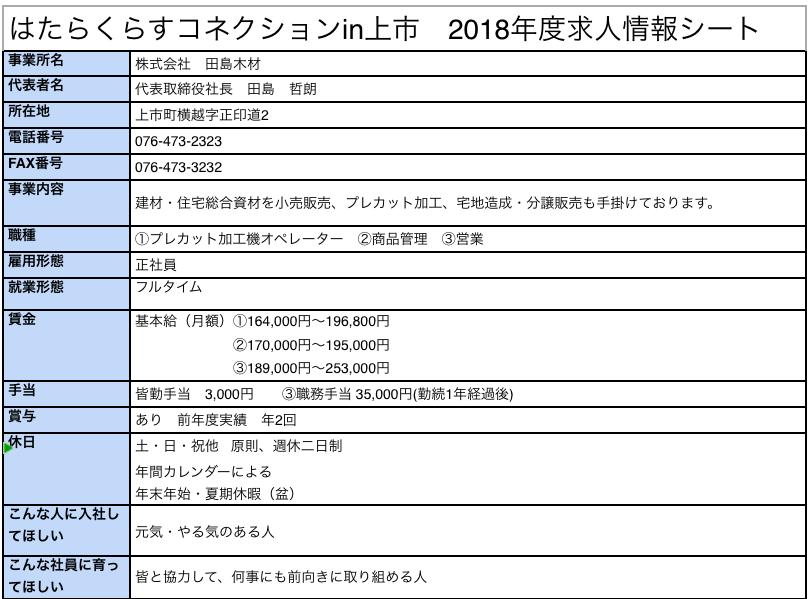 田島木材求人情報
